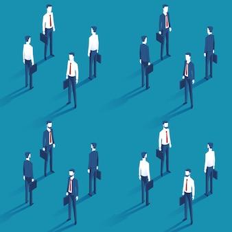Verschillende zakenlieden met een geval in de rechterhand in een pak en shirt met een rode stropdas in isometrisch. bebaarde zakenman