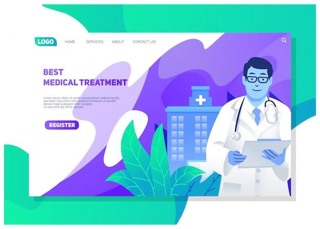 Verschillende ziekenhuisdiensten werken met artsen en verpleegkundigen, evenals de beste behandeling, levensverzekeringen en bescherming van de gezondheid ui en ux website bestemmingspagina-ontwerp