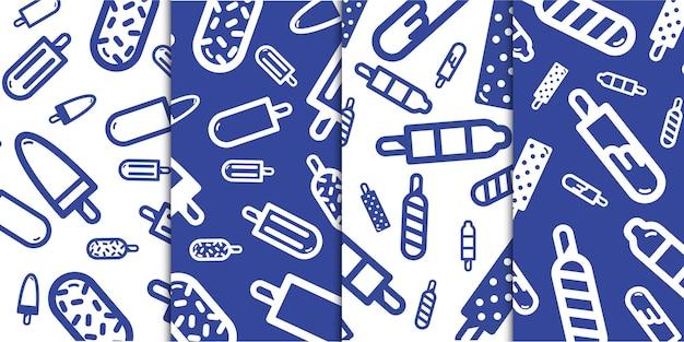 Verschillende zoete ijsdesserts of pop-ijs voor zomerpatroon in pastelkleuren gratis vector