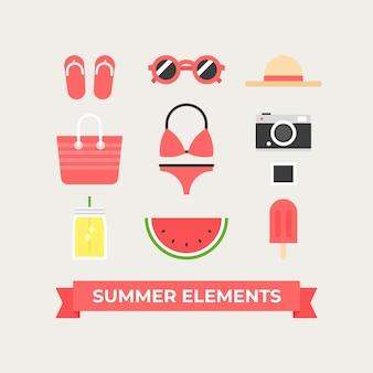 Verschillende zomerelementen in vlakke vormgeving