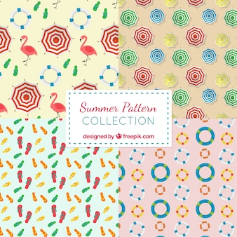 Verschillende zomerpatronen in vlakke vormgeving