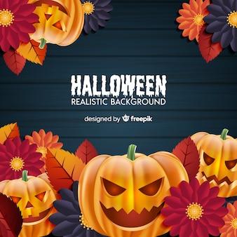 Verschrikkelijke halloween-achtergrond met realistisch ontwerp