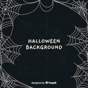 Verschrikkelijke halloween-achtergrond met spinneweb