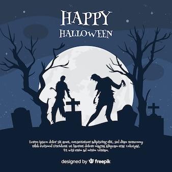 Verschrikkelijke halloween-achtergrond met vlak ontwerp