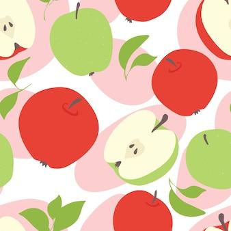Verse appels, rood en groen. naadloze patroon.