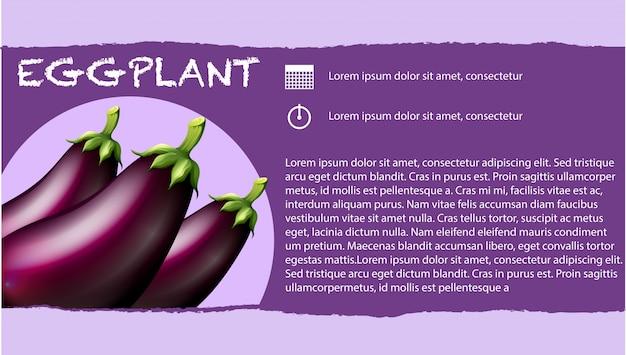 Verse aubergines en tekstontwerp