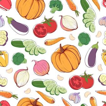 Verse biologische groenten naadloze patroon