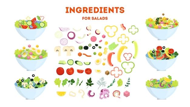 Verse biologische salade set. gezond diner gemaakt van groente