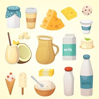 Verse biologische zuivelproducten met kaas, boter, koffie, zure room en ijs. Premium Vector