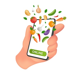 Verse boerderij kruidenierswinkel markt. foodservice online bestellen en bezorgen. menselijke hand met een mobiele smartphone met natuurlijke groenten op het scherm.