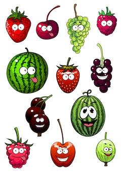 Verse cartoonbessen en fruit met watermeloen, druif, aardbei, framboos, kers, kruisbes en bes