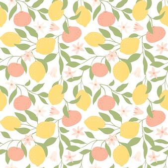 Verse citroenen, mandarijnen en bladeren achtergrond.
