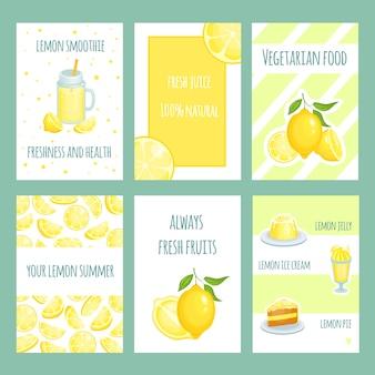 Verse citroenkaarten. limonade en citroensap met gesneden en vers fruit. retro sjabloon