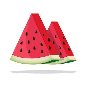 Verse en sappige watermeloenplakken Premium Vector