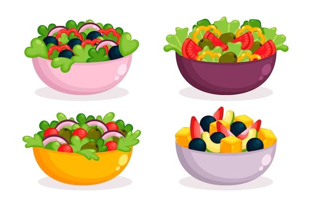 Verse fruitsalade in gekleurde kommen