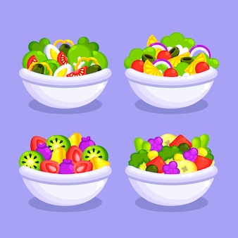 Verse fruitsalade in witte kommen