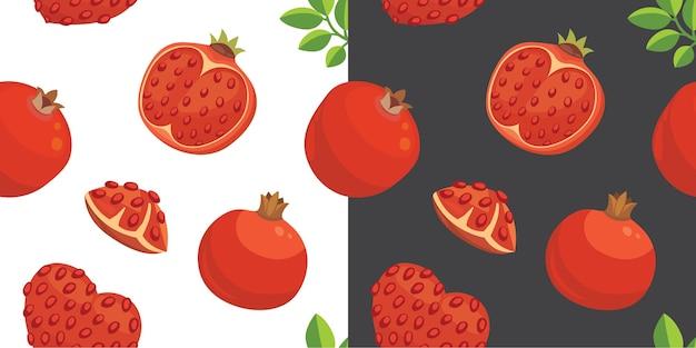 Verse granaatappels hand getrokken achtergrond. doodle behang. kleurrijk naadloos patroon