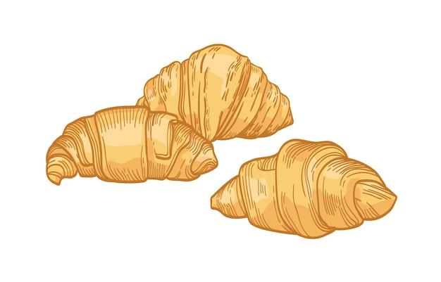 Verse heerlijke croissants die op wit worden geïsoleerd