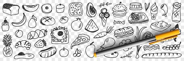 Verse ingrediënten en voedingsmiddelen doodle set illustratie