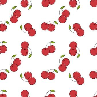 Verse kersen hand getrokken achtergrond. kleurrijk naadloos patroon met fruit.