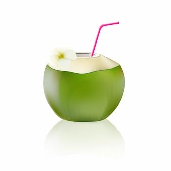 Verse kokosnoot die op witte achtergrond wordt geïsoleerd.