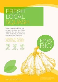Verse lokale groenten labelsjabloon abstract vector verpakking ontwerp lay-out moderne typografie bann...