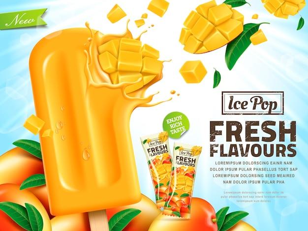 Verse mango-ijs pop advertenties illustratie