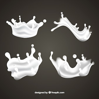 Verse melk spatten collectie in realistische stijl