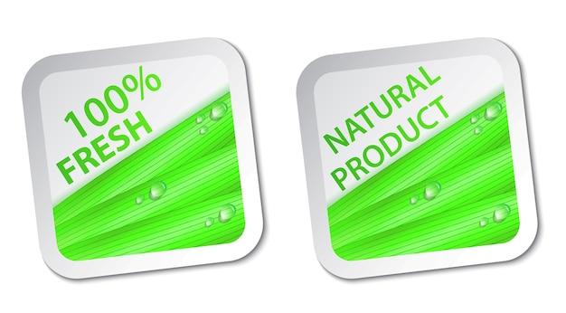 Verse natuurlijke labels en stickers op het vierkant