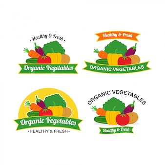 Verse organische groenten logo design vector