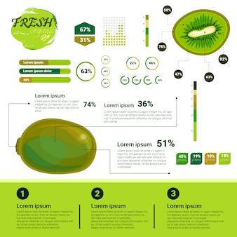 Verse organische infographics natuurlijke vruchten groei, landbouw en landbouw