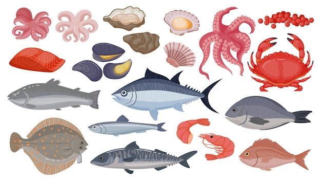 Verse rauwe oceaan- en zeevis, tonijn, zalm en haring. cartoon zeevruchten, garnalen, mosselen, sint-jakobsschelpen, oesters en kaviaar, schaaldieren vector set. marine producten voor culinair in restaurant of café