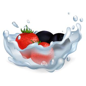Verse rijpe aardbeien en bosbessen vallen in zuiver water met grote geïsoleerde plons