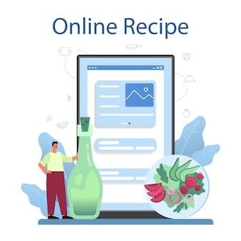 Verse salade in een kom online service of platform