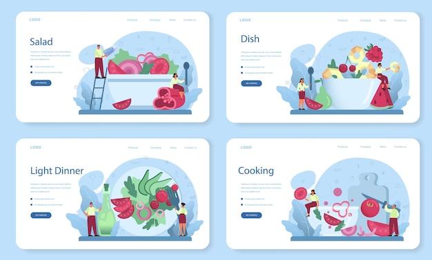 Verse salade in een kom webbanner of bestemmingspagina-set