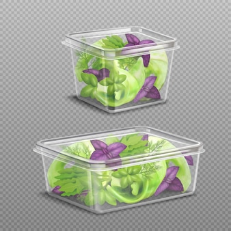 Verse salade plastic opslag transparant