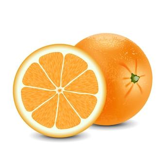 Verse sinaasappel geïsoleerd op een witte achtergrond