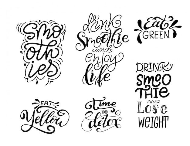 Verse smoothie handgetekende letters.
