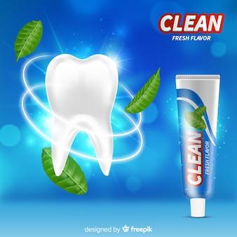 Verse tandpasta advertentie realistische stijl