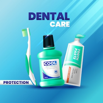 Verse tandpasta, mondwater en tandenborstel advertentie realistische stijl
