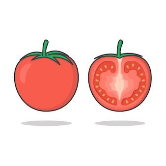Verse tomaat vector pictogram illustratie. hele en plak van tomaat platte pictogram