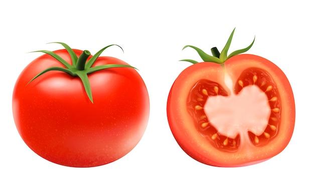 Verse tomatenelementen, geheel en een half geïsoleerd