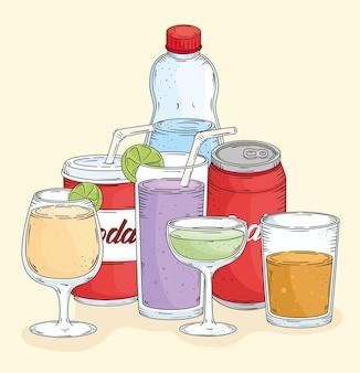 Verse zeven drankjes getrokken stijl