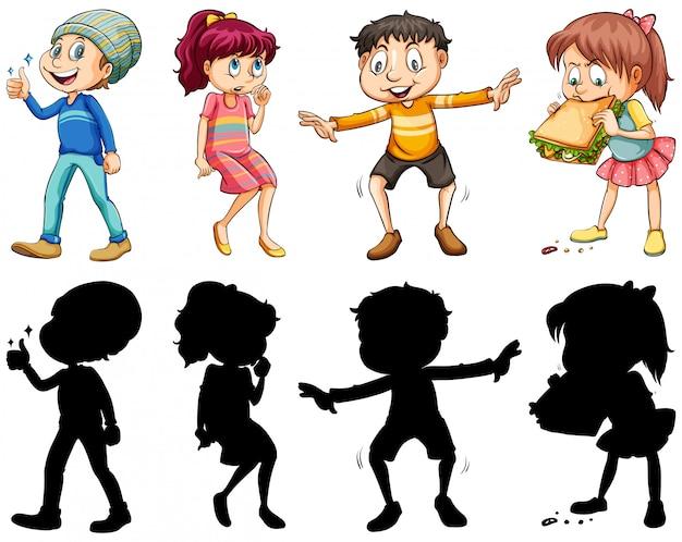 Versie met silhouet, kleur en omtrek met gekke kinderen