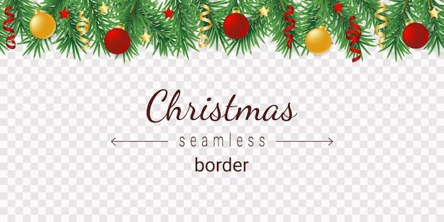 Versierd kerstboom horizontaal naadloos patroon
