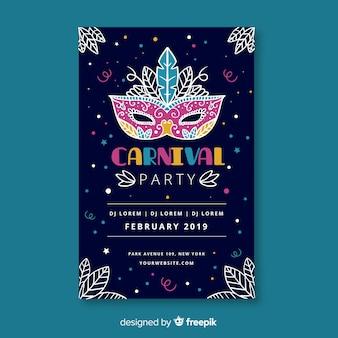 Versierd masker poster sjabloon voor carnaval