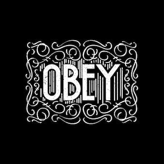 Versierde handlettering obey
