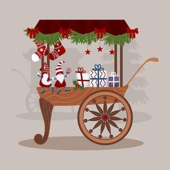 Versierde karren eerlijke kraam tellers heldere kleine kerstkabouters in doppen sterren lolly cadeau
