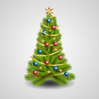 Versierde kerstboom in realistische stijl