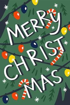 Versierde kerstboom met ballen en lichten. merry christmas illustratie.